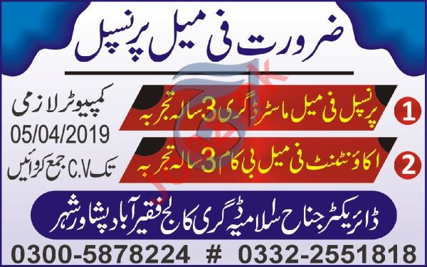 Teaching Staff Jobs in Jinnah Islamia Degree College