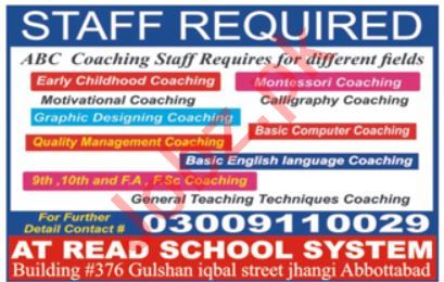 Teaching Staff Jobs in Private School
