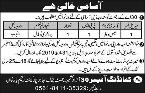 Pakistan Army Mess Waiter Job in Rahim Yar Khan