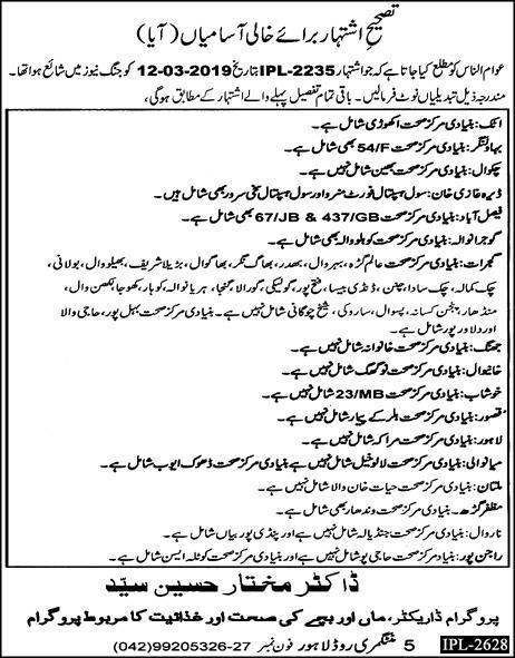 Health Department Aya Job in Punjab