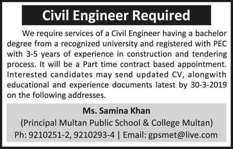 Public School and College Civil Engineer Job in Multan