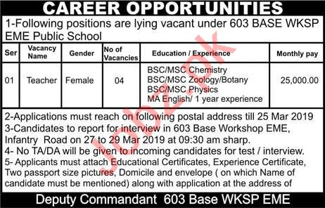 603 Base Workshop EME Public School Teacher Job 2019