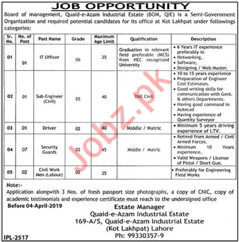 Quaid e Azam Industrial Estate  IT Officer Jobs 2019