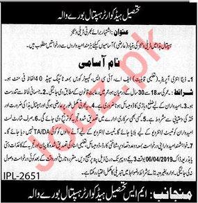 Tehsil Headquarter THQ Hospital Data Entry Operator Jobs