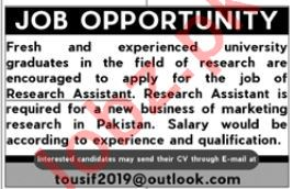 Research Assistant Jobs in Private University