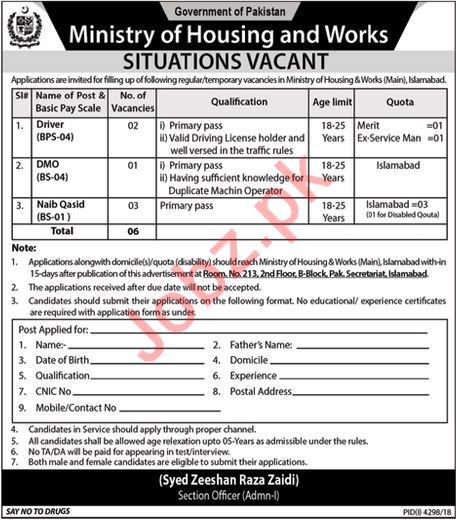 Ministry of Housing & Works Driver & Naib Qasid Jobs 2019