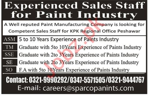 Sparco Paints Sales Staff Job in Khyber Pakhtunkhwa