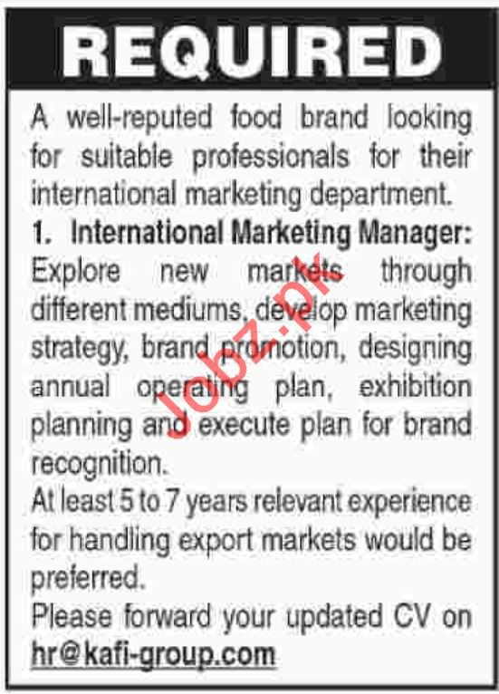 International Marketing Manager Jobs in Private Company