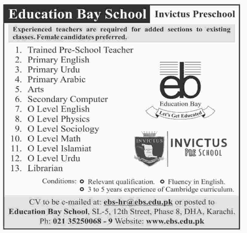 Education Bay School Teacher & Librarian Job in Karachi 2019