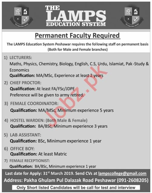 The Lamps College System Faculty Jobs 2019 in Peshawar KPK