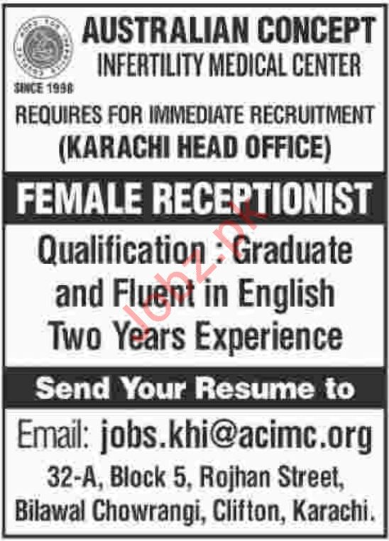 Australian Concept Infertility Medical Center Jobs in Karach