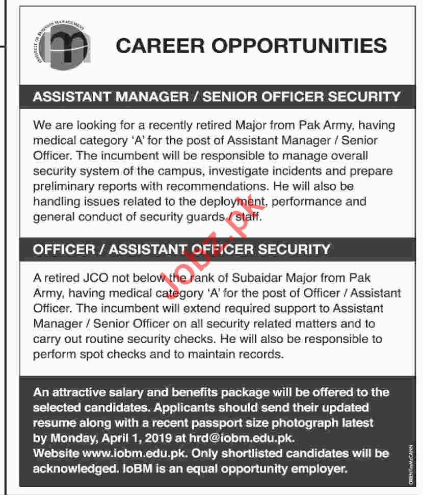 Assistant Manager Jobs in Institute of Business Management