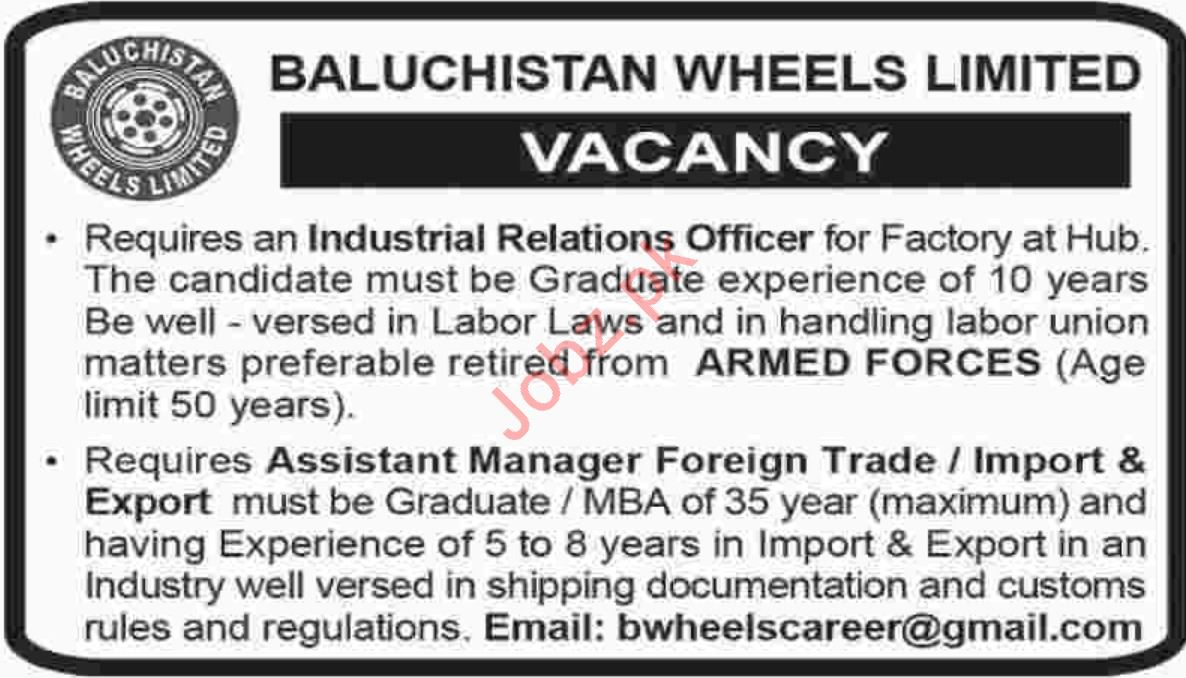 Baluchistan Wheels Limited Job 2019 in Hub