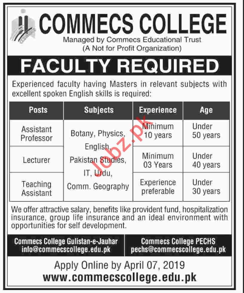 Commecs College Professor jobs 2019