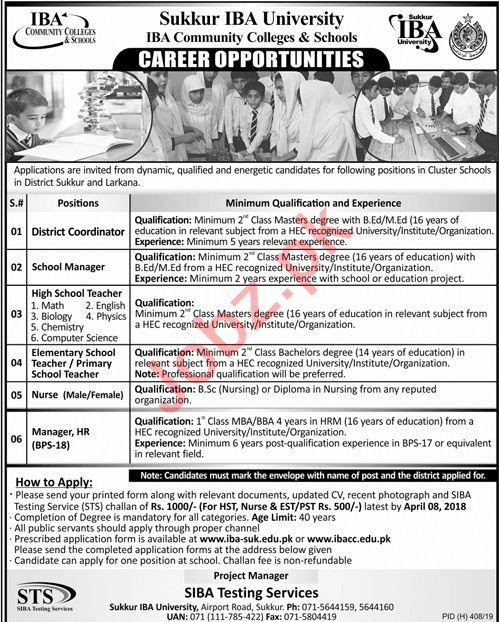 Sukkur IBA University Management Jobs 2019