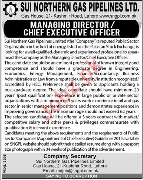 Sui Northern Gas Pipilines Limited SNGPL Jobs 2019