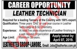 Leathertex Group Lahore Jobs for Leather Technician