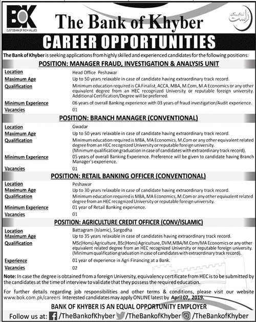 Management Staff Jobs in The Bank of khyber