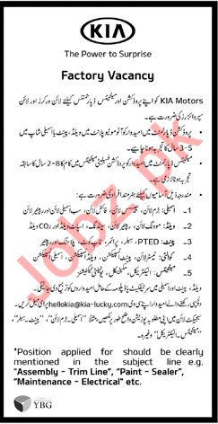 Line Workers & Line Supervisors Jobs 2019 in Lahore