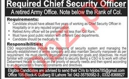Chief Security Officer Job 2019 in Lahore
