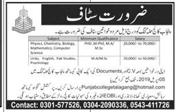 Punjab College Professor Jobs 2019