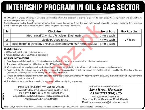 Ministry of Energy Petroleum Division Internship Program