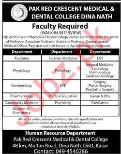 Pak Red Cresent Medical & Dental College Jobs Interview 2019