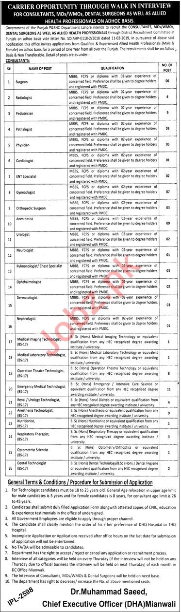 District Health Authority DHA Mianwali Jobs 2019 for Doctors