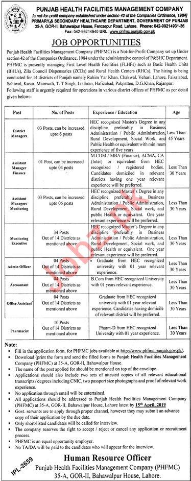 Punjab Health Facilities Management Company PHFMC Jobs 2019