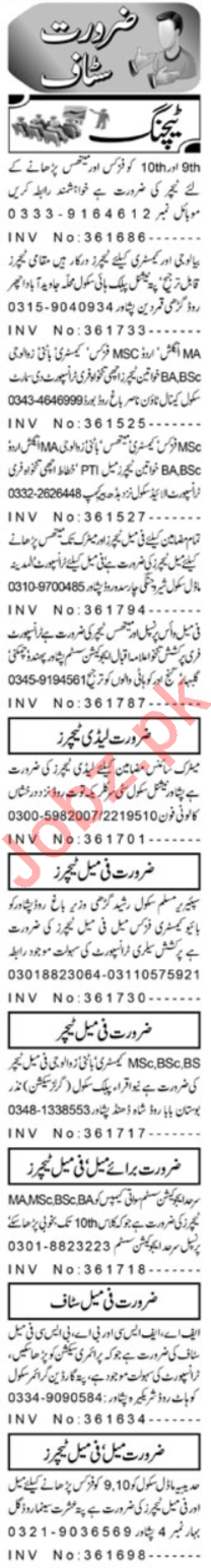 Aaj Sunday Classified Ads 24th March 2019 for Teachers