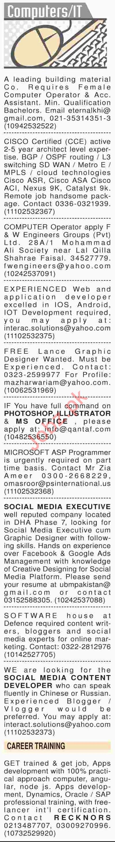 Dawn Sunday Classified Ads 24th March 2019 for IT Staff