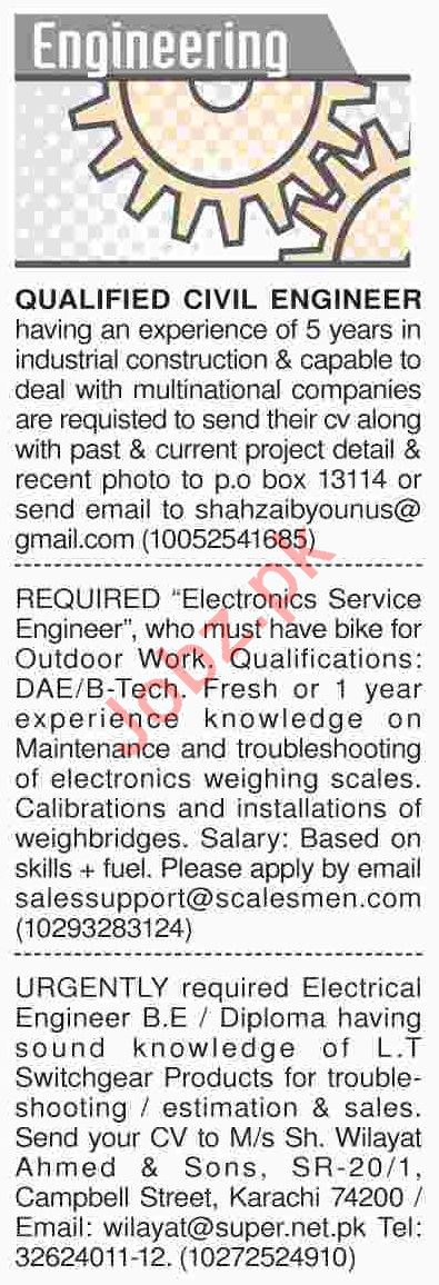 Dawn Sunday Classified Ads 24th March 2019 for Engineers