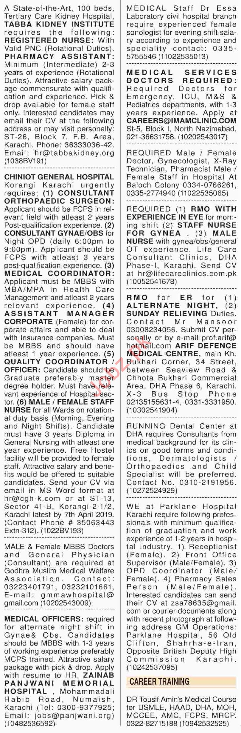 Dawn Sunday Classified Ads 24th March 2019 for Medical Staff