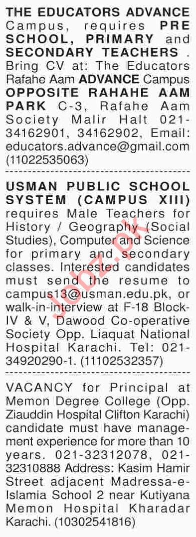 Dawn Sunday Classified Ads 24th March 2019 for Teachers