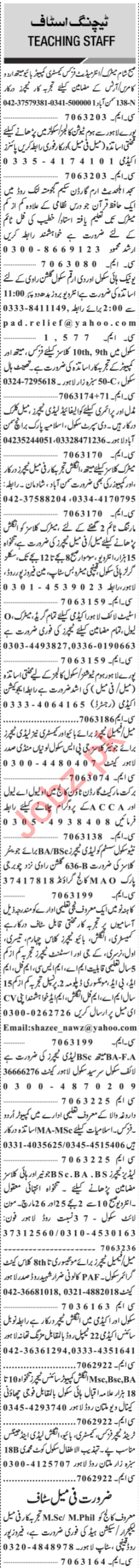 Jang Sunday Classified Ads 24th March 2019 for Teaching