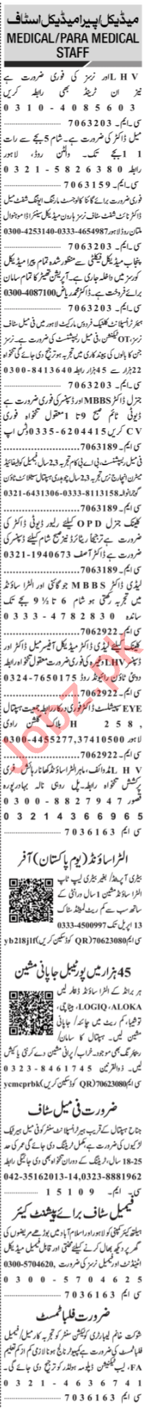 Jang Sunday Classified Ads 24th March 2019 for Medical