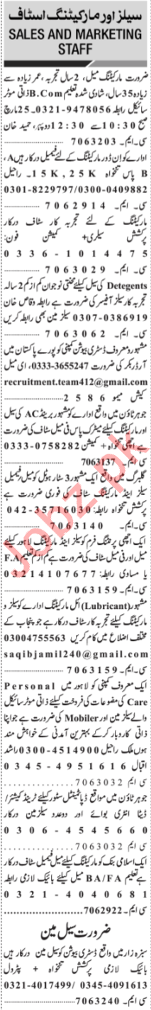 Jang Sunday Classified Ads 24th March 2019 for Sales Staff