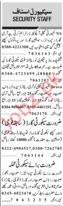 Jang Sunday Classified Ads 24th March 2019 Security Staff