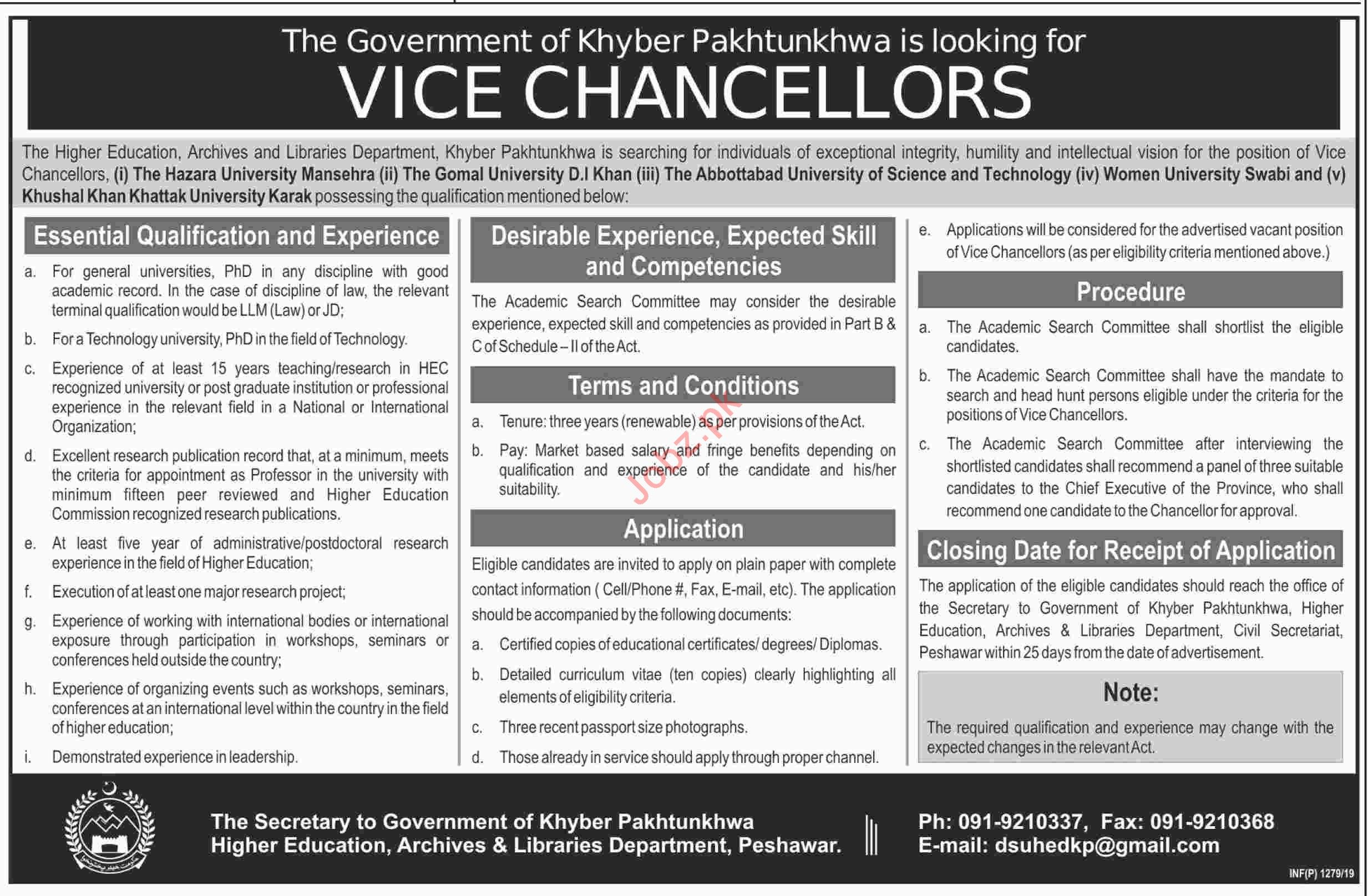 Higher Education KP Universities Jobs for Vice Chancellor
