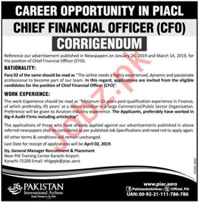 Pakistan International Airlines Company Ltd PIACL Job 2019