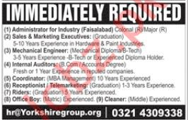 Yorkshire Group Jobs 2019 in Lahore & Faisalabad