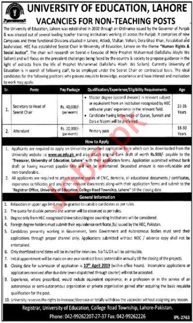 University of Education Lahore Non Teaching Jobs 2019