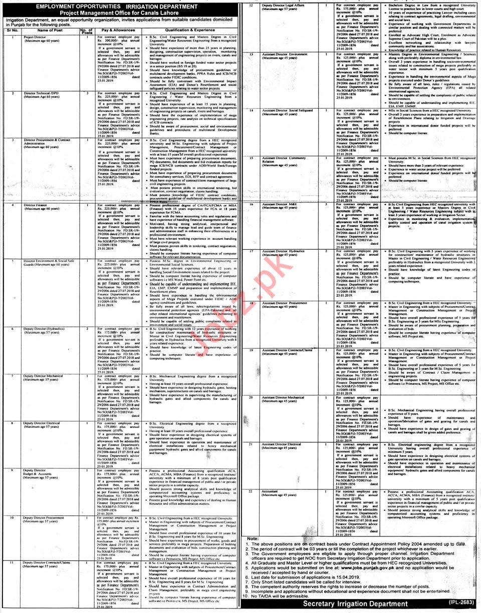 Irrigation Department Lahore Jobs 2019 for Directors