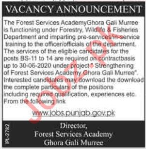 Forest Services Academy Murree Jobs 2019 for Officers