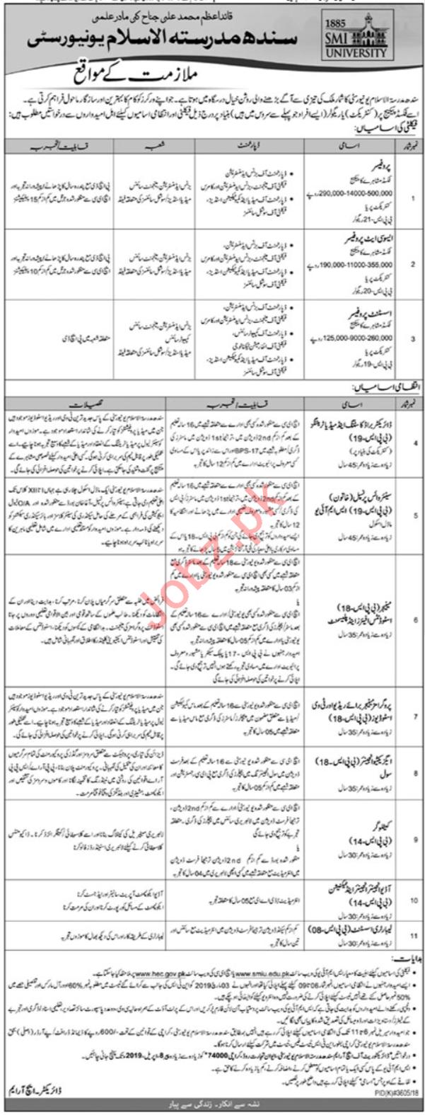 Sindh Madressatul Islam University SMIU Karachi Jobs 2019