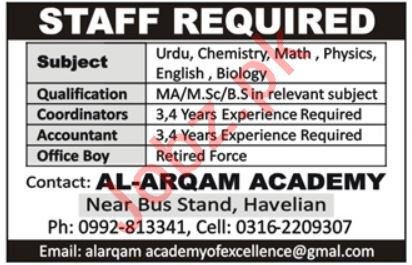 Al Arqam Academy Teaching Jobs 2019 in Havelian KPK