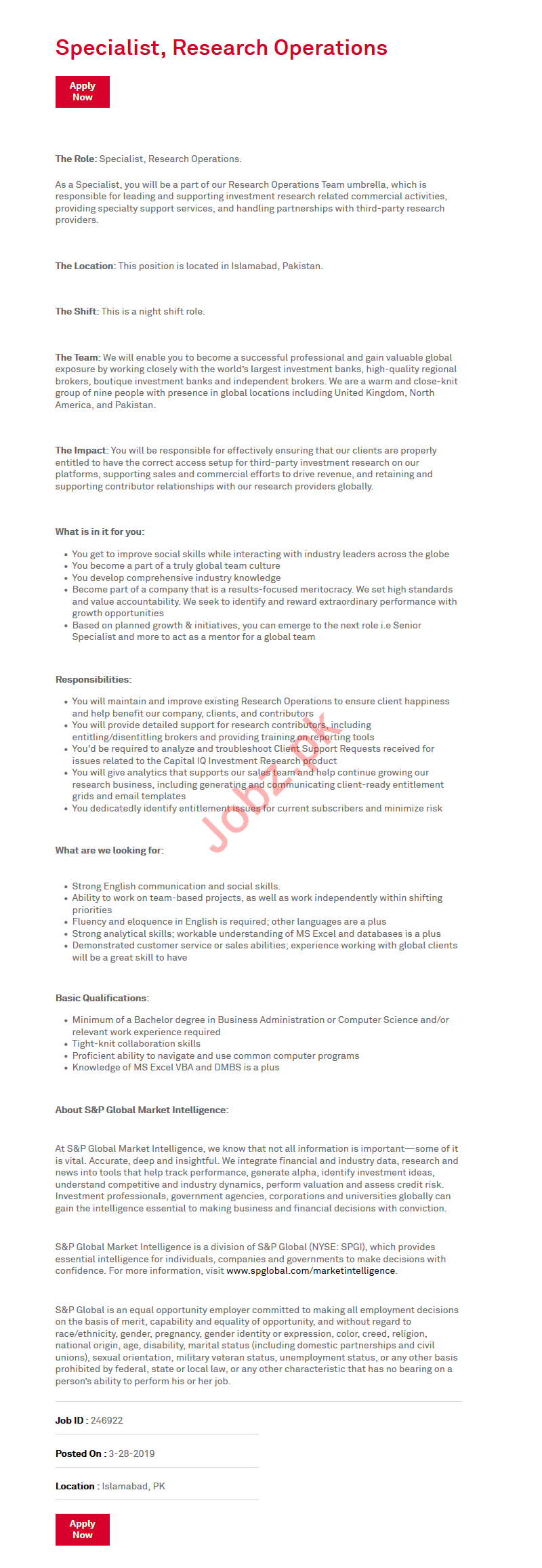 S&P Global Research Operations Jobs 2019