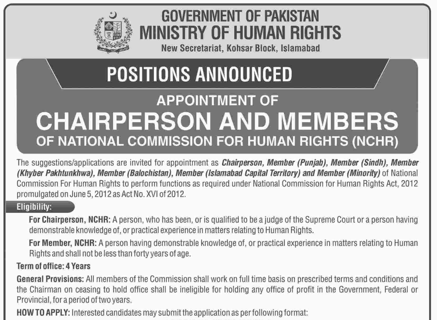 Ministry of Human Rights Islamabad Jobs 2019 for Chairperson