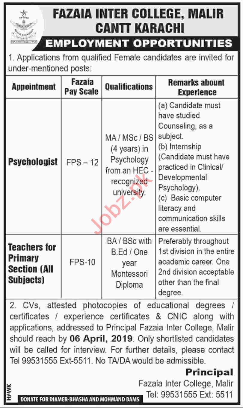 Fazaia Inter College Psychologist & Teacher Job in Karachi