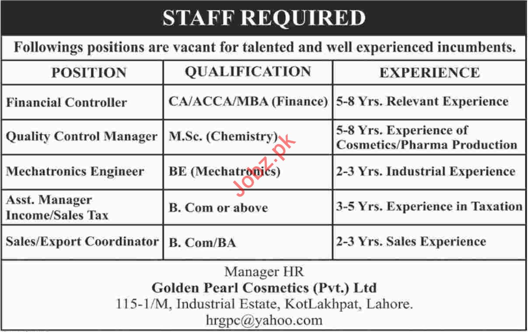 Financial Controller Jobs in Golden Pearl Cosmetics